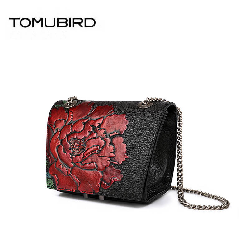 TOMUBIRD 2018 New Superior cowhide Embossed Flowers famous brand chains women bag top genuine leather handbags shoulder bag tomubird 2017 new superior leather retro embossed designer famous brand women bag genuine leather tote handbags shoulder bag