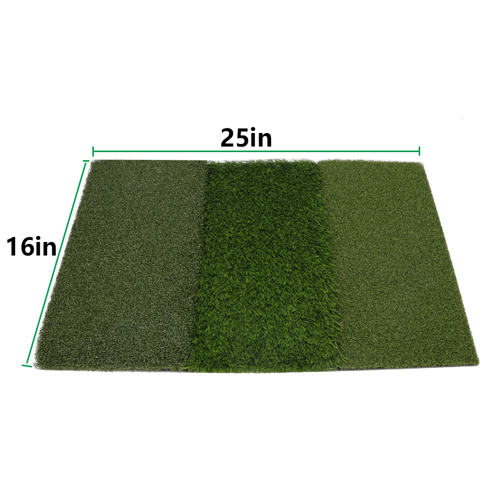 Indoor golf hitting pad practice grass