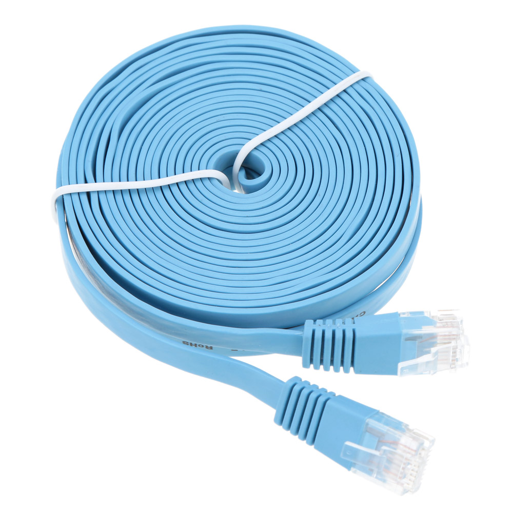 10m High Quality Blue High Speed Cat6 Ethernet Flat Cable RJ45 Computer LAN Internet Network Cord 1/2/3/5/10m Ethernet Cable new arrival durable 40m 130ft rj45 for cat5 10m 100m ethernet internet network patch lan cable cord for computer laptop