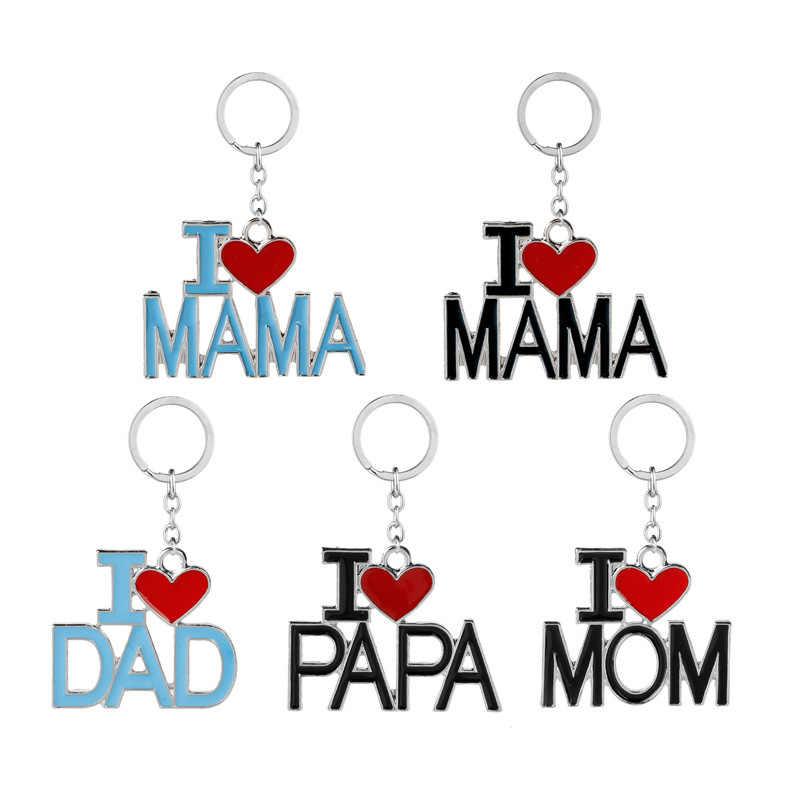 Rodzina mama tata brelok dzień ojca dzień matki brelok do kluczy kocham tata I PaPa brelok akcesoria najlepszy prezent