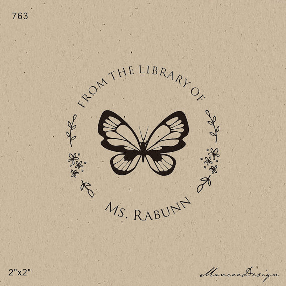 From The Library Of Handmade Stamp This Book Belongs To Butterfly Teacher 2x2 Classroom
