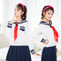 JK Cosplay White japanese School uniform 3 white bar Sailor collar sailor uniform shirt+skirt+Scarf