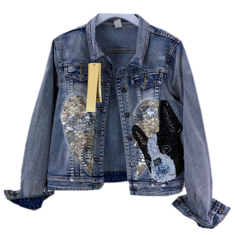 2019 Spring Fashion Handmade Sequins Jean Jacket women s Single Breasted Denim Jacket Harajuku Loose Coat