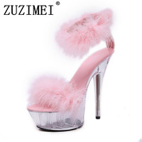 Shoes Woman Summer Sandals Feather Slides High heeled Shoes 15cm Model Catwalk Transparent Glass Crystal Leopard Slippers Red