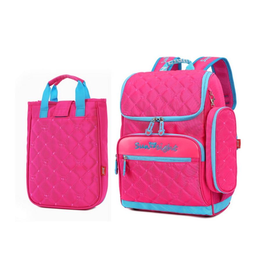 girl school bag set lunch box case Korean style elementary school backpack hot pink cute pencil case fashion bookbag for kids
