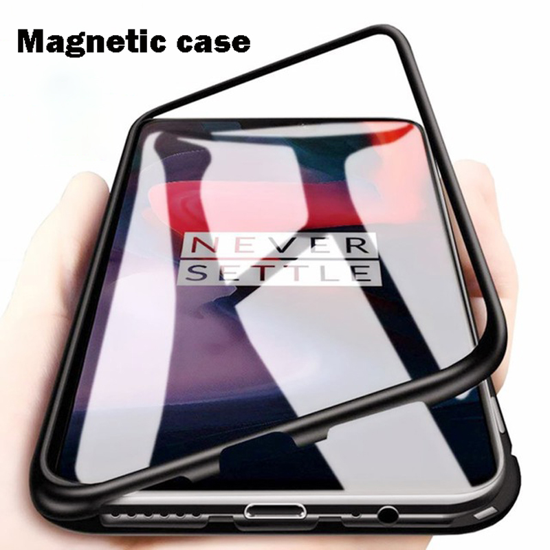 Magnetic Adsorption Phone Case For OnePlus 7 Pro One Plus 6T Tempered Glass Back Cover For Oneplus 6 5T Luxury Metal Clear Case-in Flip Cases from Cellphones & Telecommunications