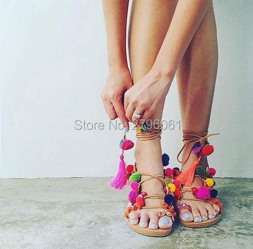 0847176de34 Hot Sale leather pom pom strap sandals lace up gladiator flats thong sandals  flip flops multi color stones women shoes