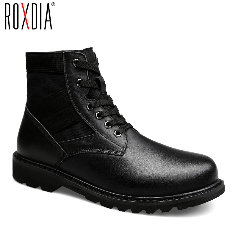 ROXDIA military boots men army boots genuine leather male shoes snow winter warm ankle work boot shoes plus size 39-48 RXM056 roxdia men boots man shoes genuine leather ankle winter snow warm short plush lace up black blue plus size 39 46 rxm1001