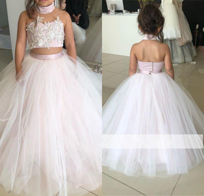 Rose 2019 robes de demoiselle d'honneur pour les mariages robe de bal licou Tulle dentelle perles longues robes de première Communion pour les petites filles - 3