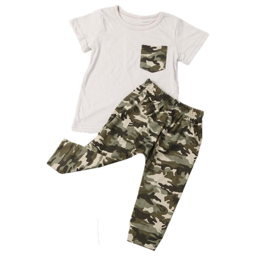 Newborn Clothing Infant Summer Baby Boy Clothes T shirt Tops Camouflage Pants Outfits Boys Clothes Set Roupas Infantis Menina
