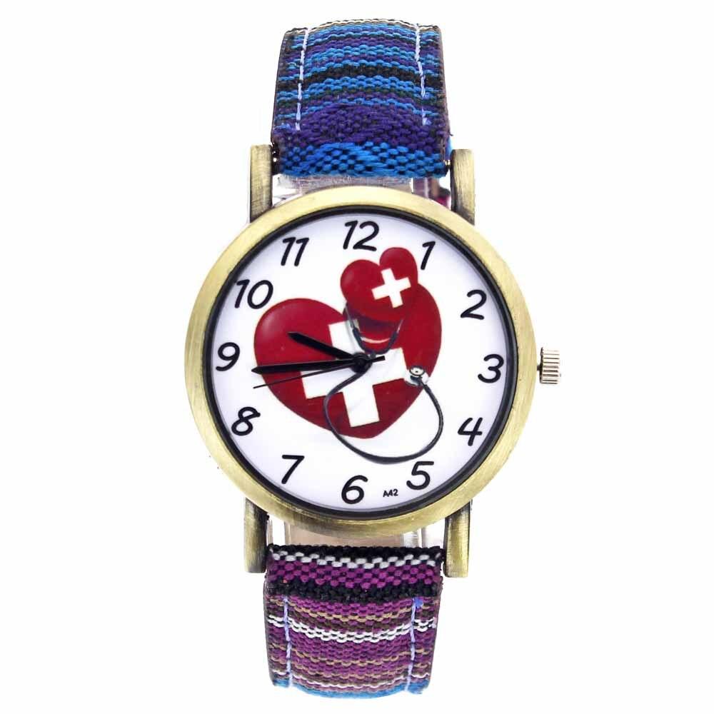 Doctor Nurse Medical Theme Heart Shape Cross Love Stethoscopes Fashion Men Women Casual Canvas Strap Sport Quartz Wrist Watch
