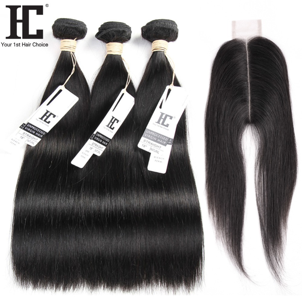 HC Brazilian Straight Hair 3 Bundles With Closure 2x6 Natural Color Non Remy Human Hair Weave