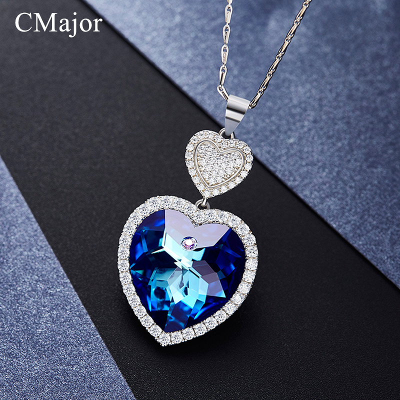 CMajor Purple & Blue Crystal Heart Pendants Necklace Fashion Chic Jewelry AAA Zircon Maxi Necklace For Women Choker Necklace chic bells necklace