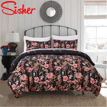 Sisher Floral Plant Bedding Sets Print Duvet Cover Set Queen Size Linen Quilt Covers Single Double King Beddingset No Bed Sheet allover sanding plant print sheet set