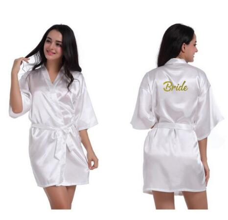 Design Bride To Be Team Bride Robe Gold Glitter White Satin Lingerie Shower Gift Bridal Party Kimono Robes MANY COLORS