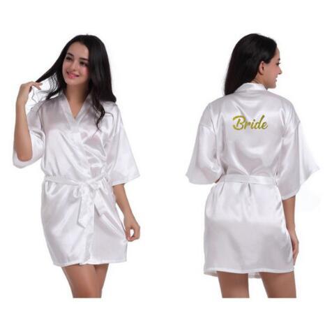 Design Bride To Be Team Bride Robe Gold Glitter White Satin Lingerie Shower Gift Bridal Party Kimono Robes MANY COLORS