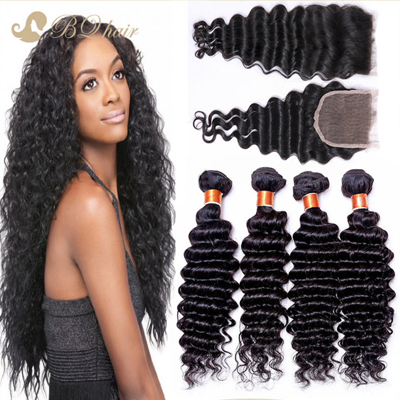 Cheap 8A Brazilian Deep Wave 4 Bundles With Closure Buy Queen Human Hair Extension Unprocessed Virgin