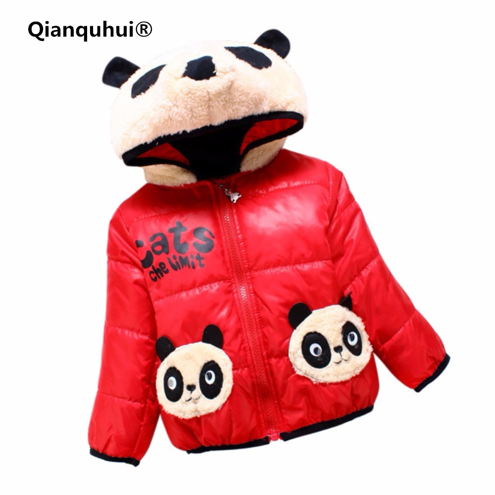 Qianquhui 3 Colors Baby Girls Boys Clothes Cartoon Bear Hoodie Coats Infant Toddler Winter Warm Down Jacket For Girls Outwears худи boys hoodie