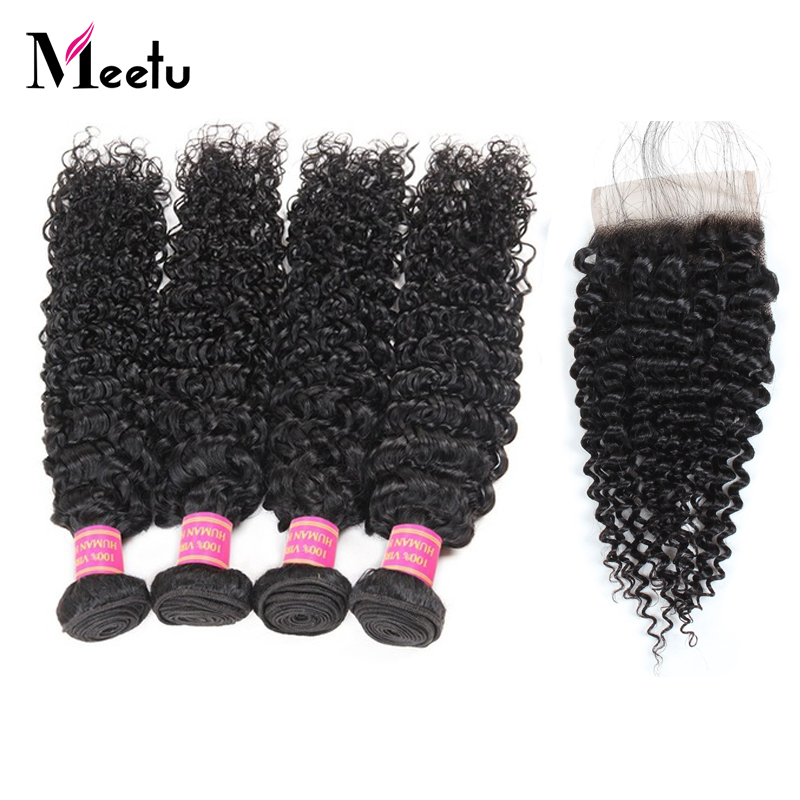 Meetu Brazilian Hair Weave Bundles With Closure Non Remy Human Hair Natural Brazilian Kinky Curly Hair 4 Bundles With Closure