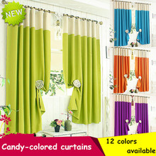 1PC ZHH Single Panel Modern Candy Colors Blackout Curtains For Living Room Flat Window Treatment Fashion Splicing Curtain Panels