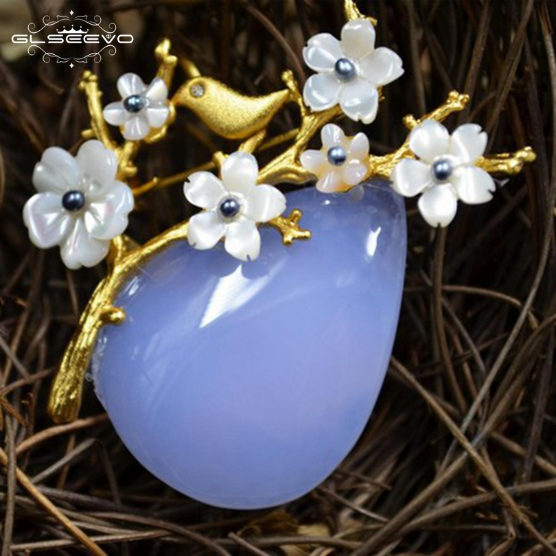 b56e5d2f8 ... Fine Designer Jewelry Luxury GO0228 · GLSEEVO Natural Mother Of Pearl  Flower Brooch Pins Blue Agate Brooches Femme Bijoux Dual Use Luxury