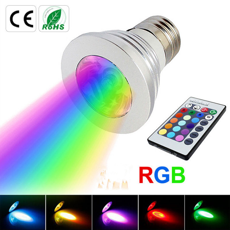10X New 220V /110V RGB Bulb lamp RGB LED Bulb E27 GU10 3W LED Lamp Light Led Spotlight Spot light 16 Color Change Dimmable Lamp rgb led lamp bulb light with magic contoller e27 base 3w 7w smd5050 chip 110v 220v home decor changeable color uw