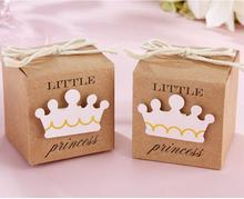 Little Prince Princess Brown Kraft Paper Gift Box Baby Shower Birthday Party Favors Candy Boxes with Crown and Twine