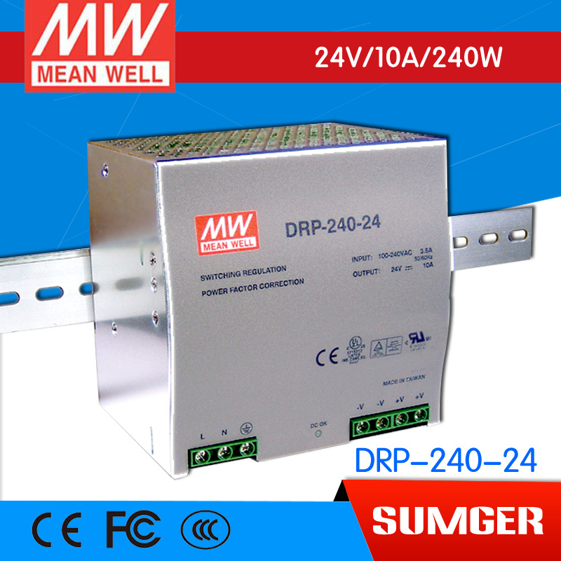 [AAA]MEAN WELL original DRP-240-24 2Pcs 24V 10A meanwell DRP-240 24V 240W Single Output Industrial DIN Rail Power Supply [powernex] mean well enc 240 24 240w desktop single output battery charger meanwell enc 240