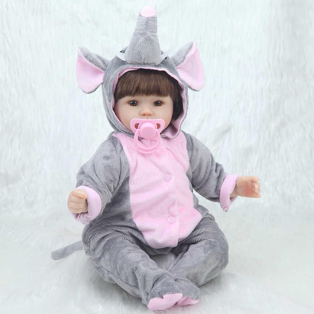 Bebê reborn boneca 42cm corpo de silicone macio bonito boneca elefante ama boneca brinquedos para meninas boneca bebe boneca presentes de aniversário do bebê brinquedos