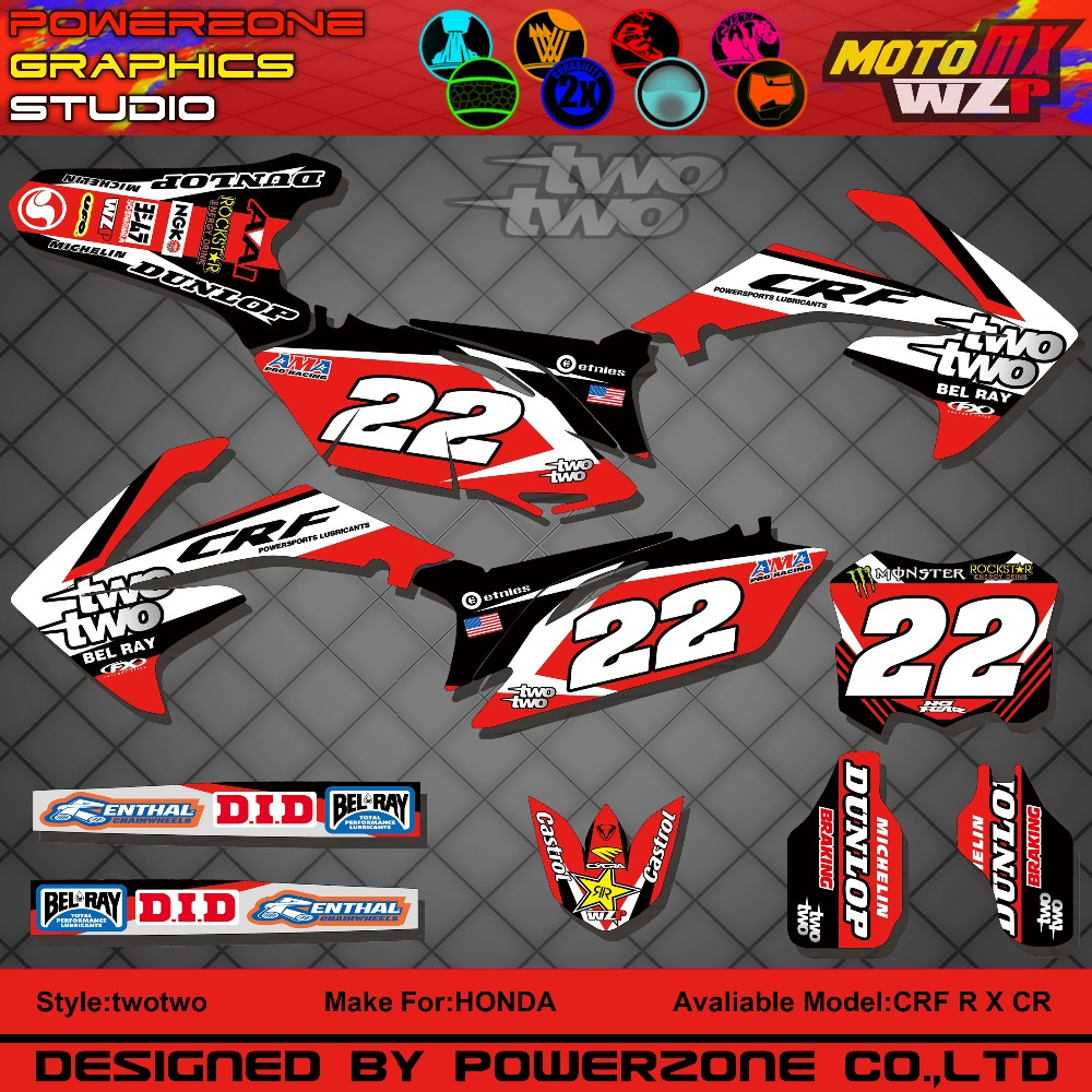 CR CRF 250 450 CR250F X CR450F FX two Customized Graphics Backgrounds Decals 3M Stickers Motorcycle Dirt Bike MX Parts