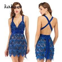 Kakan summer new tassel sequin dress hot womens sexy backless deep V-neck club party