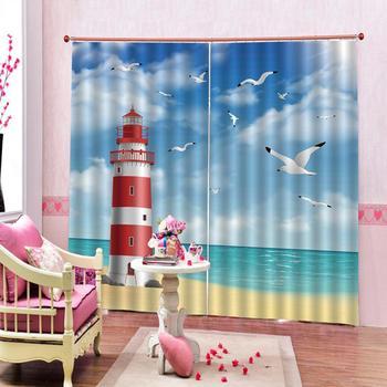 seaside curtains blue curtain Bedroom 3D Window Curtain Luxury living room decorate Cortina