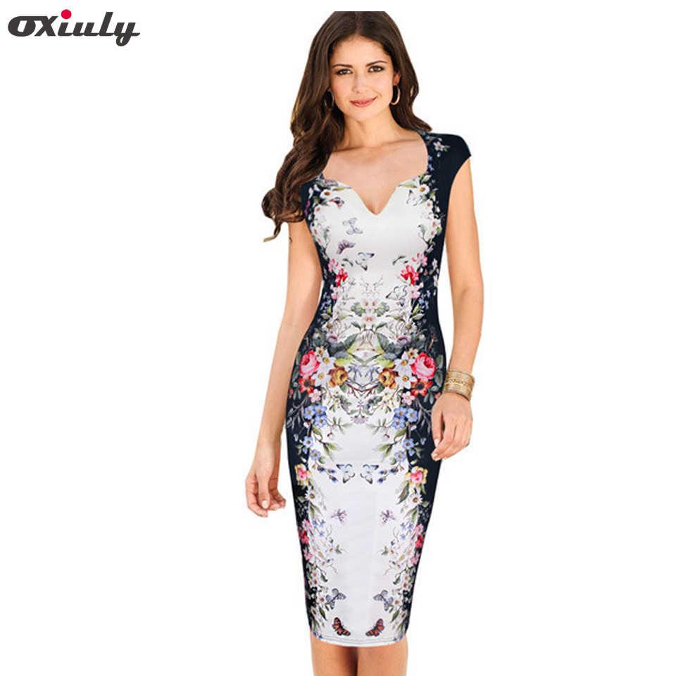Oxiuly Plus size 3XL Women Elegant Flower Print Natural OL Career Pencil  Dress Lady V-Neck Zipper Knee-Length Dresses
