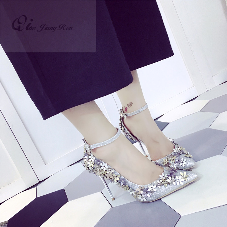 elegant flower women pumps fashion ladies pointed toe thin heel sandals summer style high heels women silver wedding party shoes купить