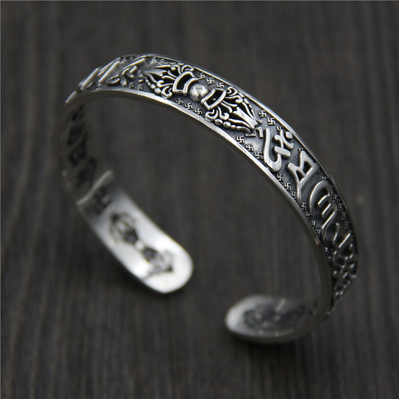 S925 Sterling Silver Carved Vajra Pestle Six Words mantra Open Bangle Tibetan Buddhist Thai Silver Handmade BraceletS925 Sterling Silver Carved Vajra Pestle Six Words mantra Open Bangle Tibetan Buddhist Thai Silver Handmade Bracelet