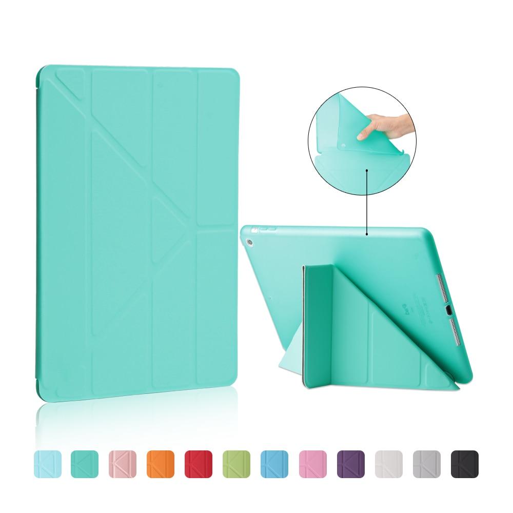 TPU Soft Case For ipad Air 1: A1474`A1475`A1476, YCJOYZW - 4 Shape Bracket Smart Sleep Wake Up PU Leather Cloth Rear Cover