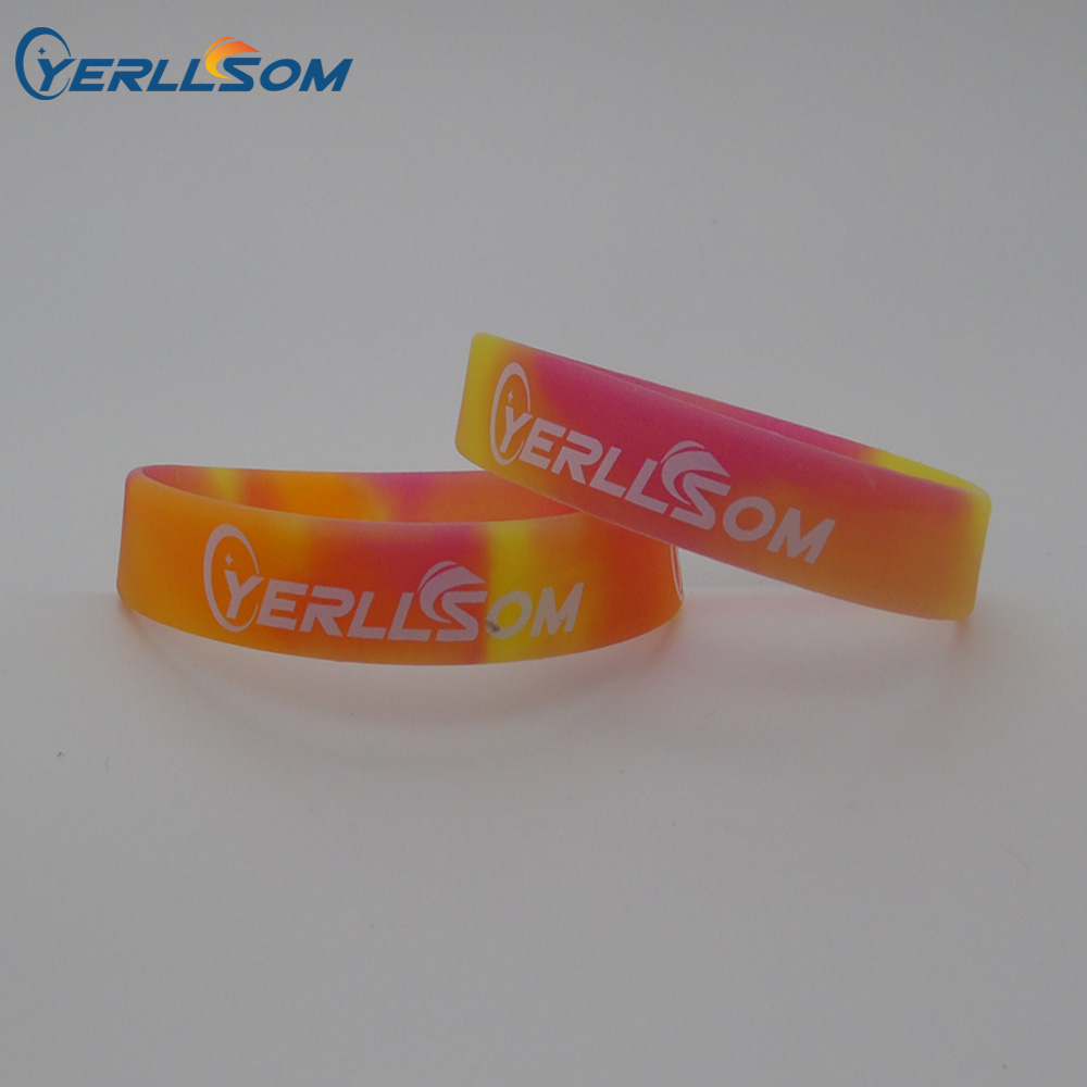 YERLLSOM 200pcs Lot High Quality Customized Personal Swirl Silicone Bracelets With Logo For YS071601