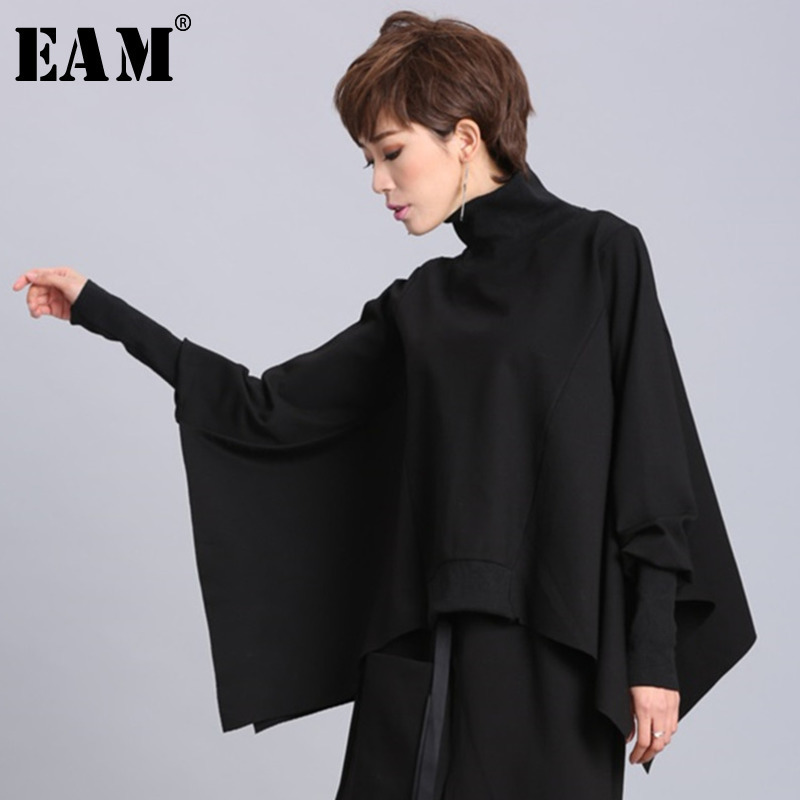 [EAM] 2019 New Spring Black Full Batwing Sleeve Turtleneck Collar Pullover Loose Irregular Women Fashion Tide Coat OA869