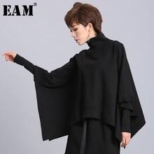 [EAM] Loose Fit Black Asymmetrical Oversized Sweatshirt New Turtleneck Long Sleeve Women Big Size Fashion Tide Spring 2020 OA869