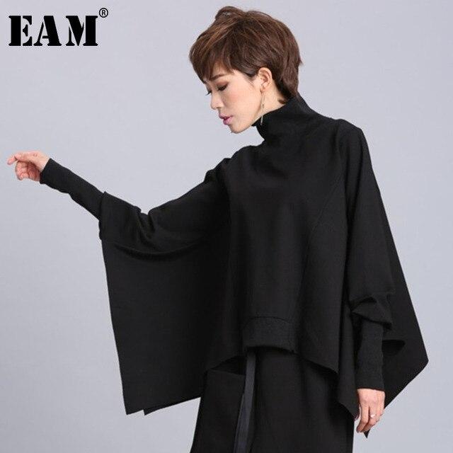 [Eam] Losse Fit Black Asymmetrische Oversized Sweatshirt Nieuwe Coltrui Lange Mouwen Vrouwen Big Size Fashion Tij Voorjaar 2020 OA869