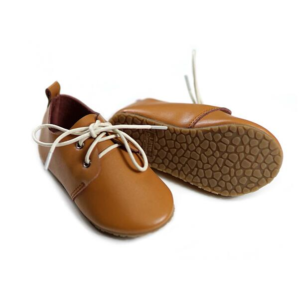 New Brown Genuine Leather Anti-slip Waterproof Hard Sole For Boys Girls Children Kid Leather Shoes Baby Moccasins 13.5-17cm