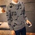 Зимний свитер мужчины корейской slim fit музыкальная нота печати пуловеры моды для мужчин круглый воротник повседневная вязание для мужчин одежда 3xl-m