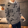 winter sweater men korean slim fit music note print pullovers men fashion round collar casual knittings for men clothing 3xl-m