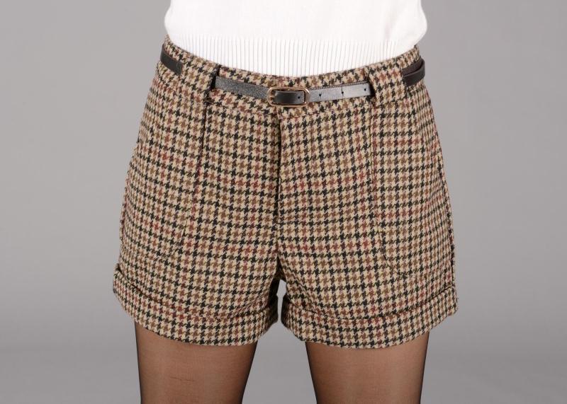 New Autumn Winter 2016 Fashion Women Wool Blends Plaid Short Pants ...
