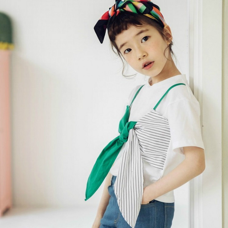 2018 Kids Baby Girls Clothes Set Outfits Big Bow T Shirt Summer Girl Costume Cotton T-shirt Top + Jeans 2PCs Clothing Sets CC948 new 2017 cotton little girls shirt off the shoulder white t shirt kids top children clothes tolder clothing kids summer blouse