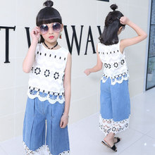 2019 summer baby girl clothes set fashion Hollow tops +denim wide leg pants body suit girls jean trousers suits