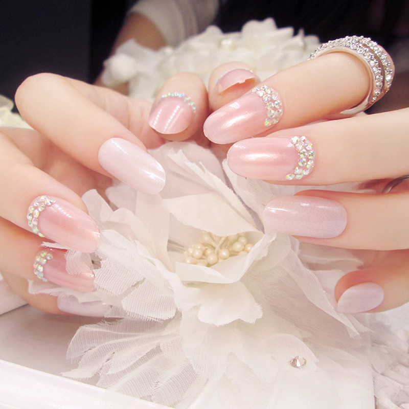 Nail finished fake fingernails bride nail patch false nails 24 ...