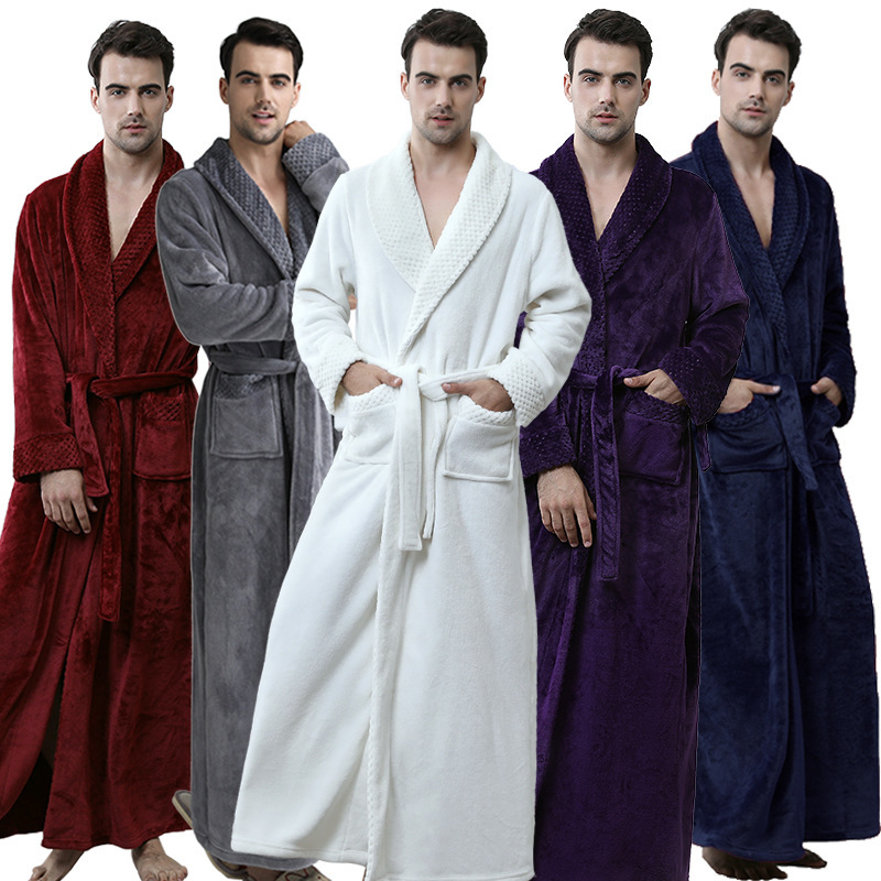 Lovers Plus Size Flannel Robe Extra Long Warm Bathrobe Men Women Thick Winter Kimono Bath Robe Male Dressing Gown Robes