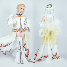 Fate Fate/extra Nero Saber saber queen flower wedding dress cos dress FGO cos[lay costume with The chain *2 Free shipping