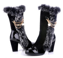 New 2013 Thick High Heel Real Leather Snow Boots Winter Women'S Warm Martin Boots Female Knee High Round Toe Velvet Boots H1123